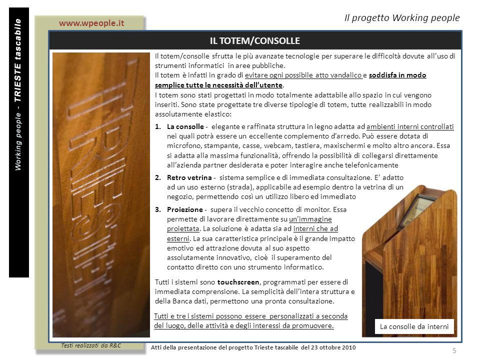 Titolo documento Il progetto Working people IL TOTEM/CONSOLLE Atti della presentazione del progetto Trieste tascabile del 23 ottobre 2010 5 3.Proiezio