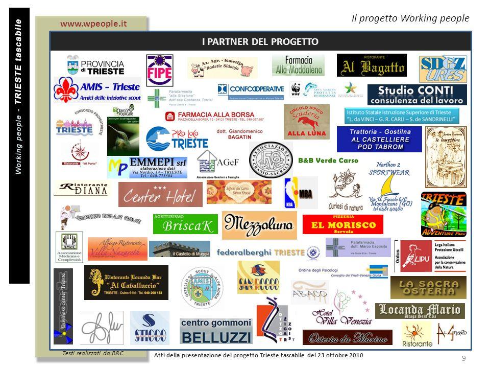 Titolo documento Il progetto Working people I PARTNER DEL PROGETTO Atti della presentazione del progetto Trieste tascabile del 23 ottobre 2010 9 www.w
