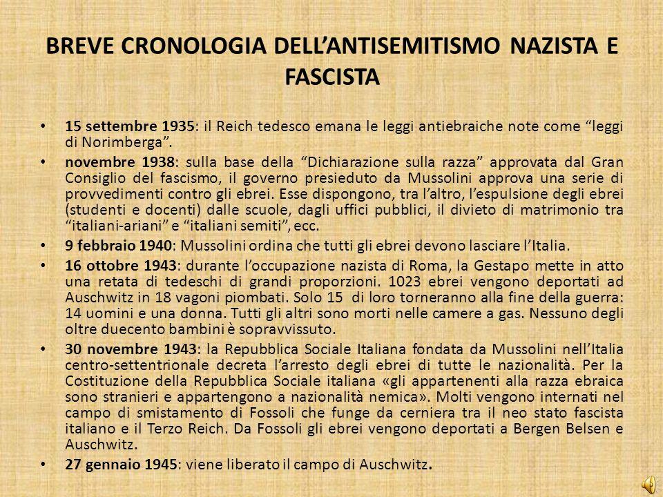 BREVE CRONOLOGIA DELLANTISEMITISMO NAZISTA E FASCISTA 15 settembre 1935: il Reich tedesco emana le leggi antiebraiche note come leggi di Norimberga. n