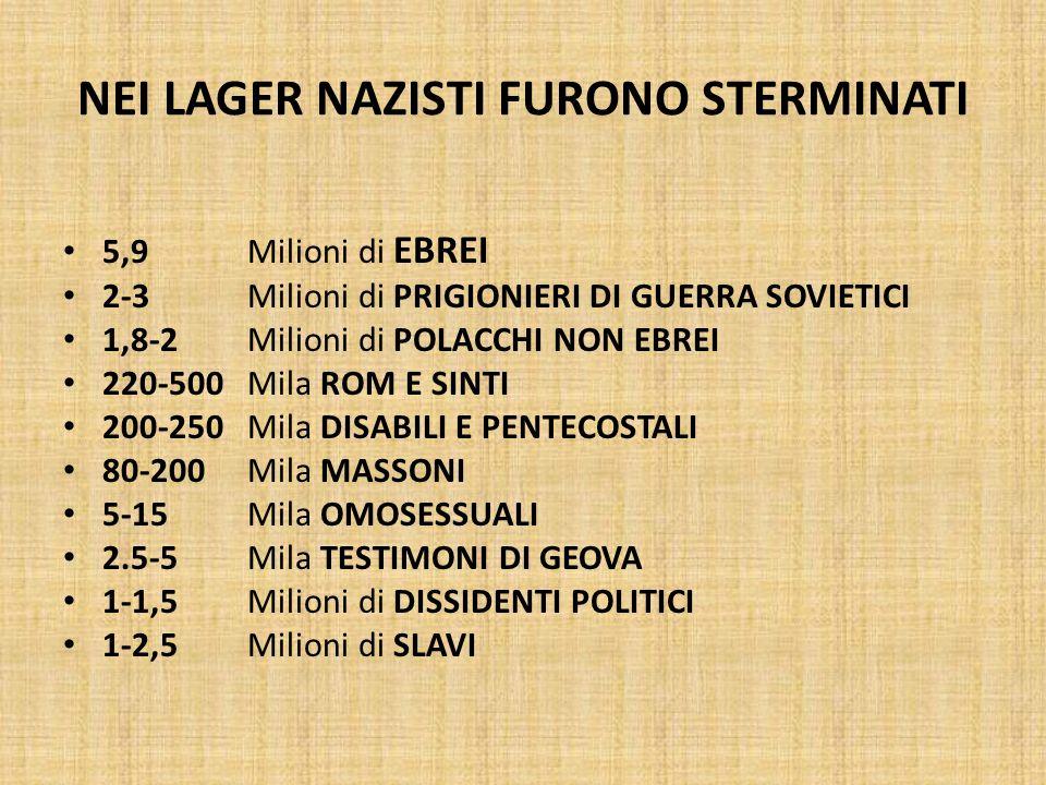 NEI LAGER NAZISTI FURONO STERMINATI 5,9 Milioni di EBREI 2-3 Milioni di PRIGIONIERI DI GUERRA SOVIETICI 1,8-2 Milioni di POLACCHI NON EBREI 220-500 Mi