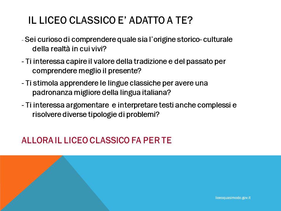 COSA SI STUDIA AL LICEO CLASSICO.