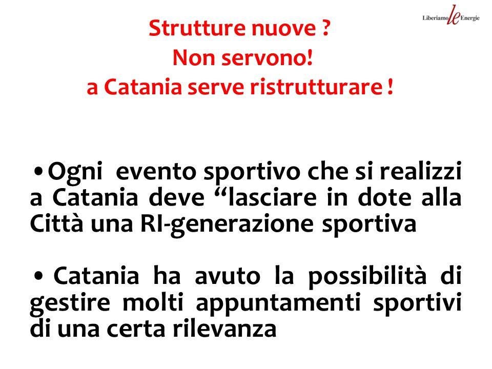Strutture nuove ? Non servono! a Catania serve ristrutturare ! Ogni evento sportivo che si realizzi a Catania deve lasciare in dote alla Città una RI-