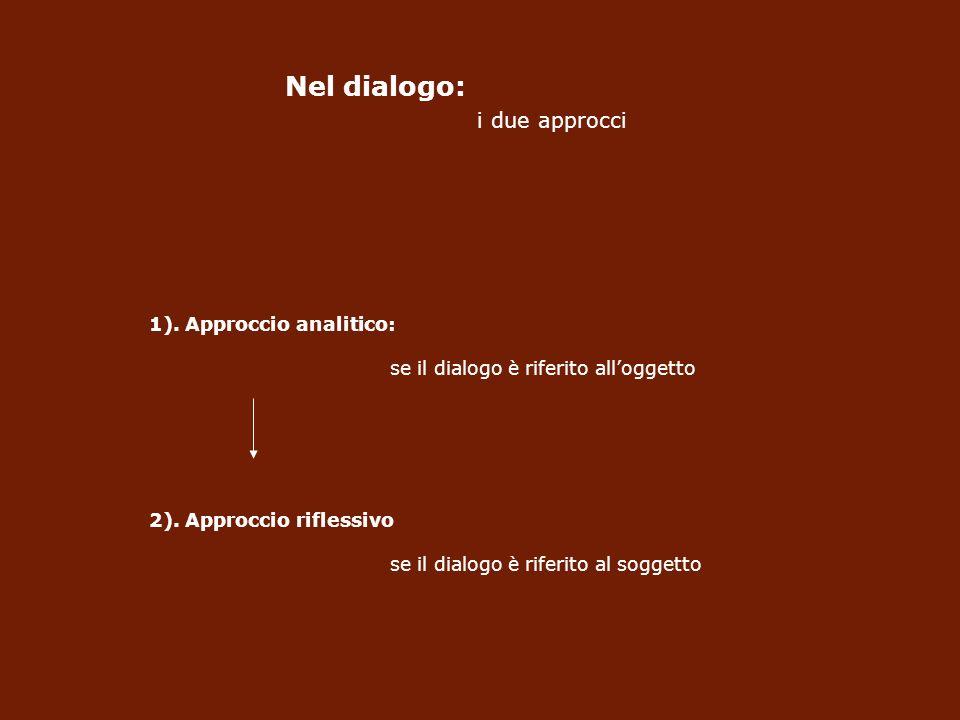Nel dialogo: i due approcci 1).Approccio analitico: se il dialogo è riferito alloggetto 2).