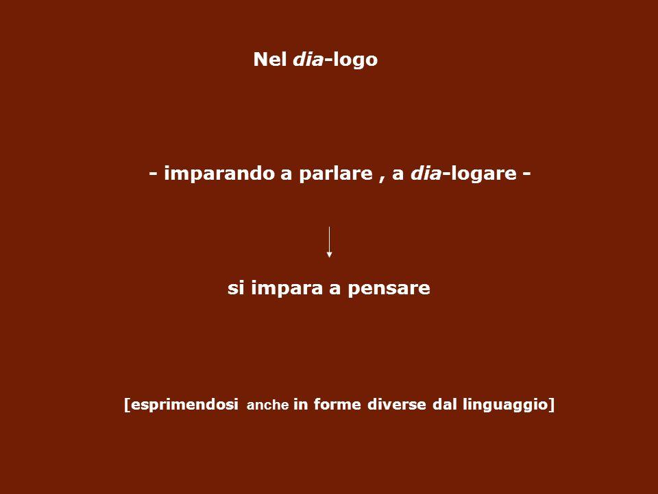 Nel dia-logo - imparando a parlare, a dia-logare - si impara a pensare [esprimendosi anche in forme diverse dal linguaggio]