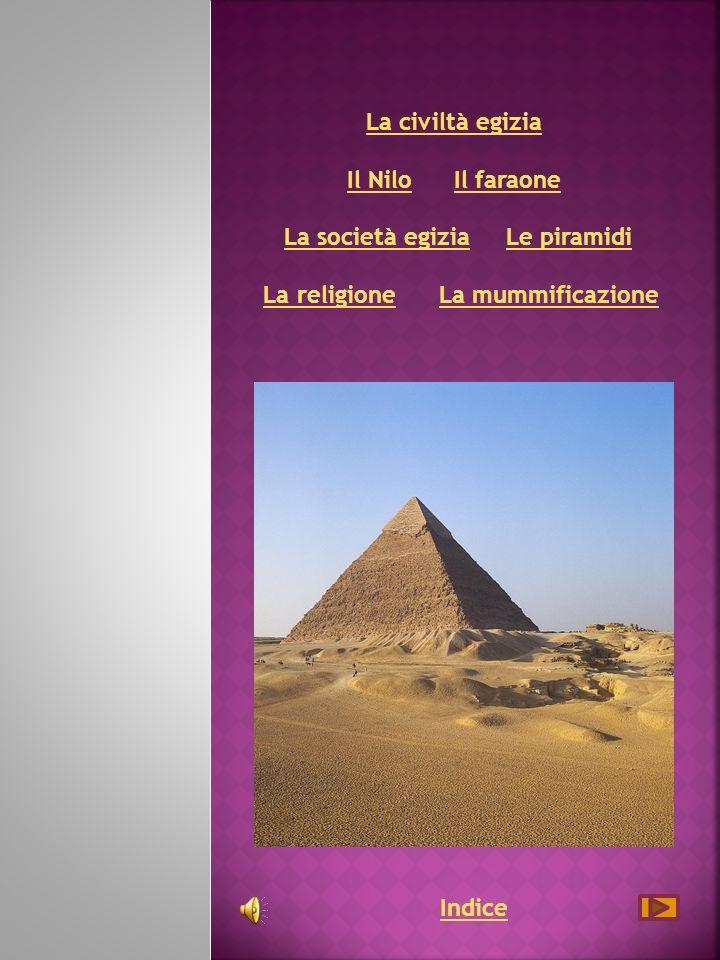 La civiltà egizia La civiltà egizia Il Nilo Il faraone La società egizia Le piramidi La religione La mummificazione Il NiloIl faraoneLa società egiziaLe piramidiLa religioneLa mummificazione Indice
