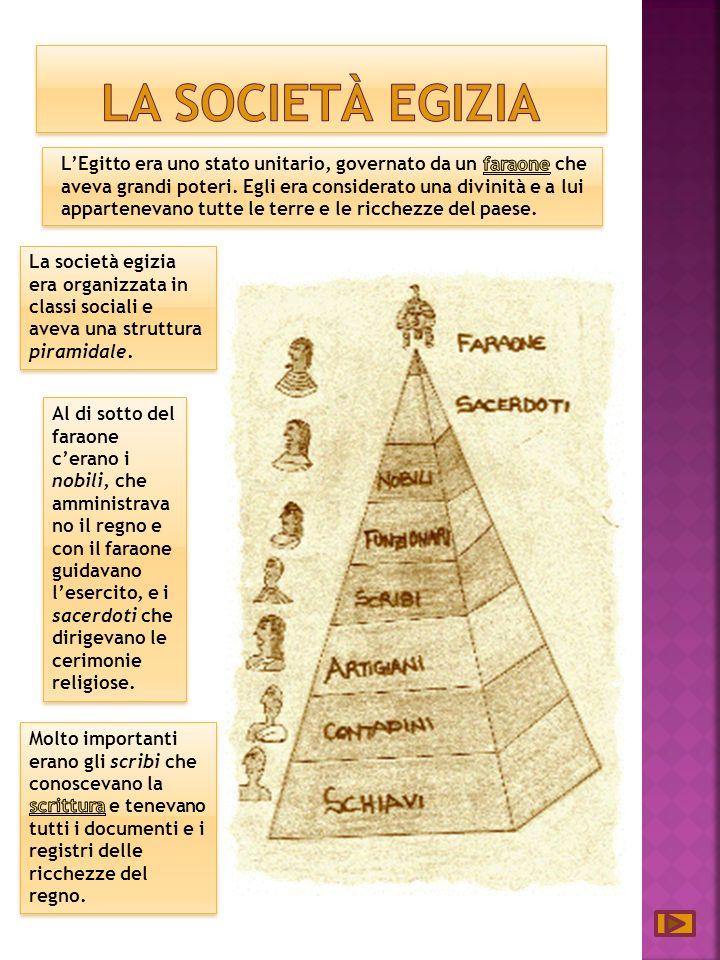 La società egizia era organizzata in classi sociali e aveva una struttura piramidale.