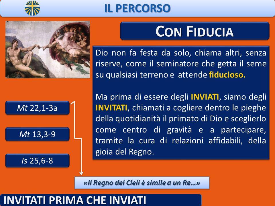 IL PERCORSO INVITATI PRIMA CHE INVIATI C ON F IDUCIA Mt 22,1-3a Dio non fa festa da solo, chiama altri, senza riserve, come il seminatore che getta il