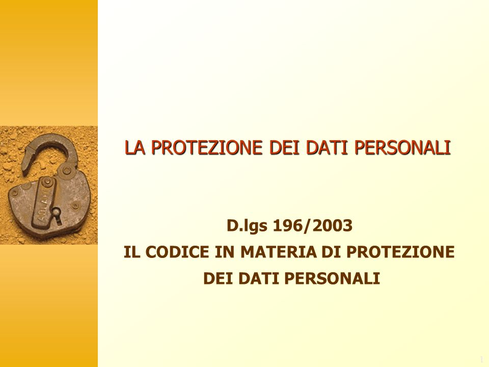 1 LA PROTEZIONE DEI DATI PERSONALI D.lgs 196/2003 IL CODICE IN MATERIA DI PROTEZIONE DEI DATI PERSONALI