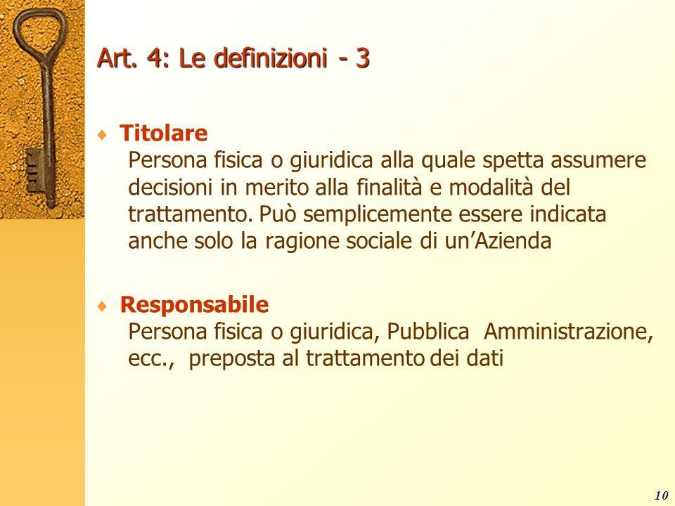 10 Art. 4: Le definizioni - 3 Titolare Persona fisica o giuridica alla quale spetta assumere decisioni in merito alla finalità e modalità del trattame