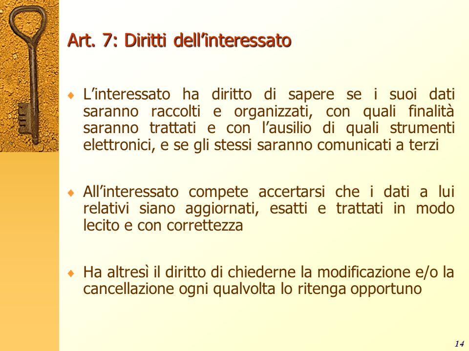 14 Art. 7: Diritti dellinteressato Linteressato ha diritto di sapere se i suoi dati saranno raccolti e organizzati, con quali finalità saranno trattat