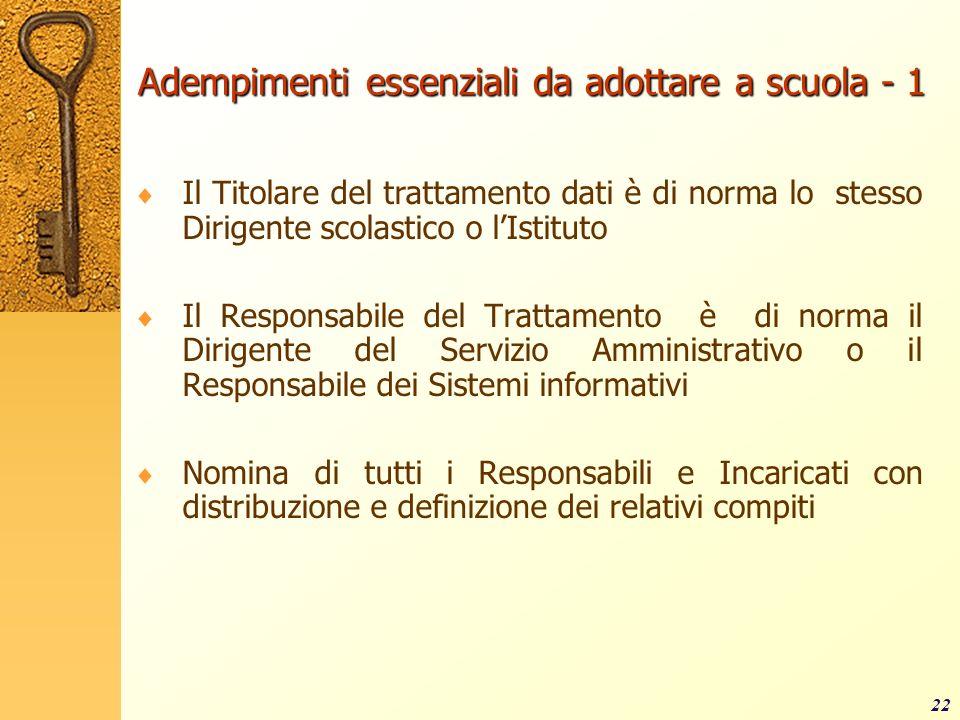 22 Adempimenti essenziali da adottare a scuola - 1 Il Titolare del trattamento dati è di norma lo stesso Dirigente scolastico o lIstituto Il Responsab