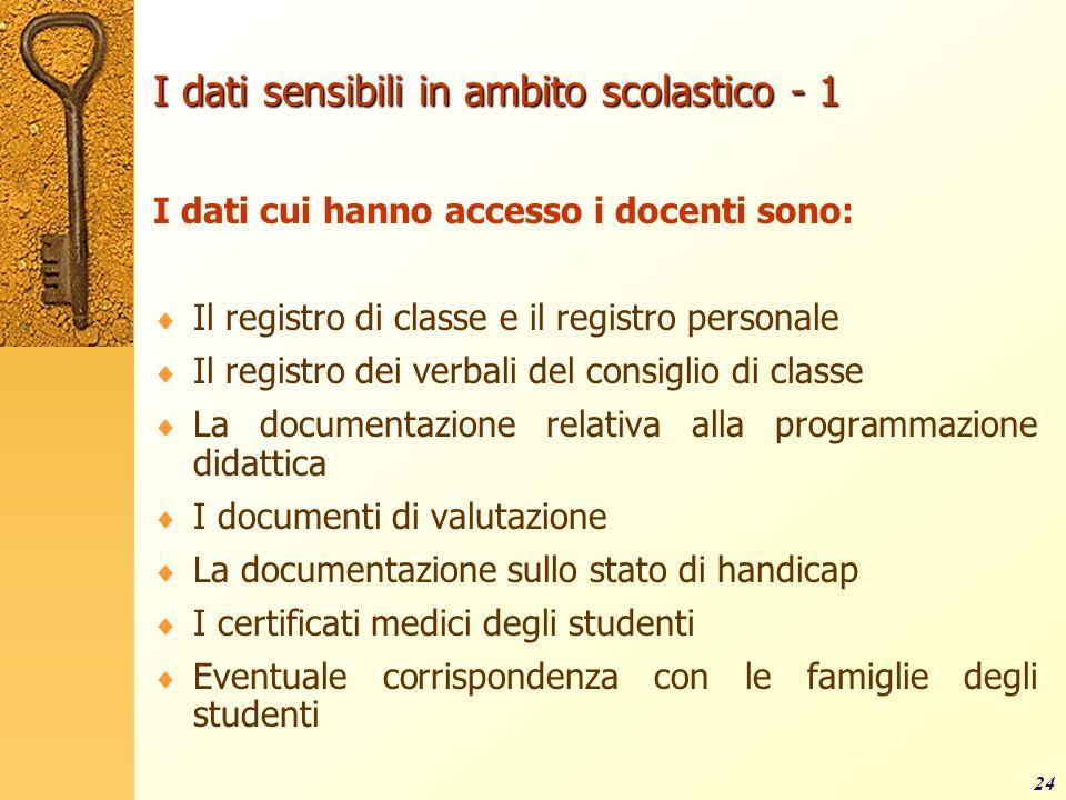 24 I dati sensibili in ambito scolastico - 1 I dati cui hanno accesso i docenti sono: Il registro di classe e il registro personale Il registro dei ve