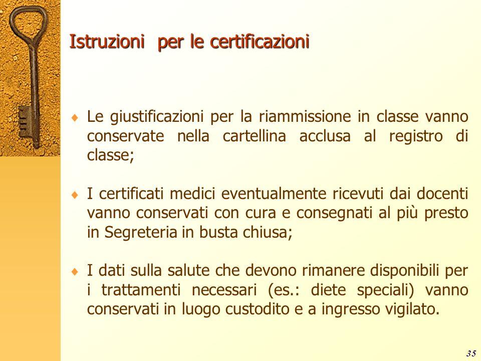 Istruzioni per le certificazioni Le giustificazioni per la riammissione in classe vanno conservate nella cartellina acclusa al registro di classe; I c
