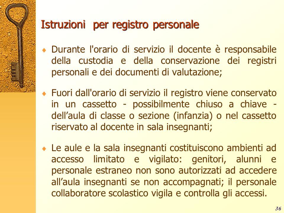Istruzioni per registro personale Durante l'orario di servizio il docente è responsabile della custodia e della conservazione dei registri personali e