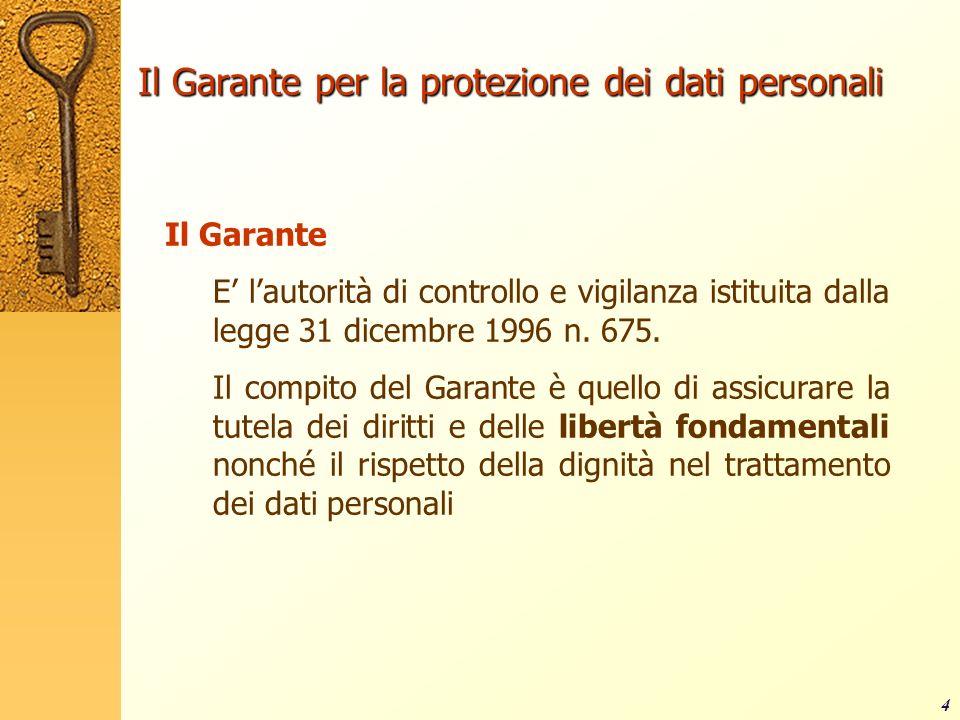 4 Il Garante per la protezione dei dati personali Il Garante E lautorità di controllo e vigilanza istituita dalla legge 31 dicembre 1996 n. 675. Il co