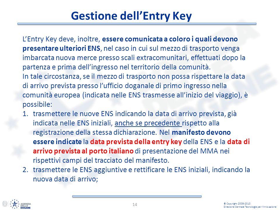 Gestione dellEntry Key 14 © Copyright 2008-2010 Direzione Centrale Tecnologie per lInnovazione LEntry Key deve, inoltre, essere comunicata a coloro i