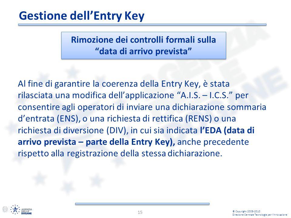 Al fine di garantire la coerenza della Entry Key, è stata rilasciata una modifica dellapplicazione A.I.S.