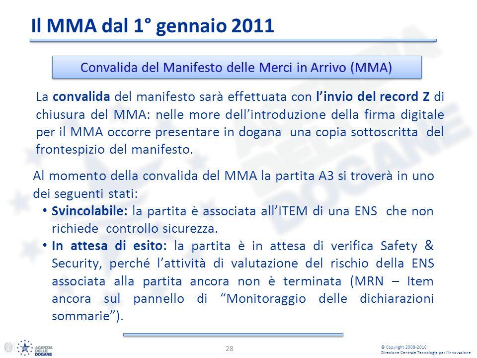 28 © Copyright 2008-2010 Direzione Centrale Tecnologie per lInnovazione La convalida del manifesto sarà effettuata con linvio del record Z di chiusura