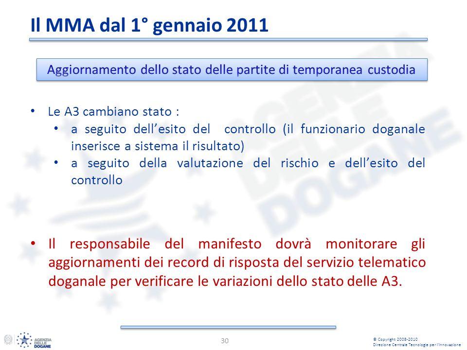 30 © Copyright 2008-2010 Direzione Centrale Tecnologie per lInnovazione Il responsabile del manifesto dovrà monitorare gli aggiornamenti dei record di risposta del servizio telematico doganale per verificare le variazioni dello stato delle A3.