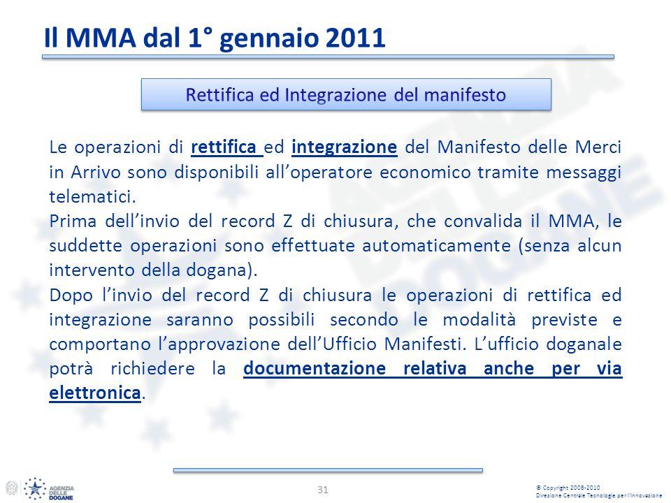 31 © Copyright 2008-2010 Direzione Centrale Tecnologie per lInnovazione Le operazioni di rettifica ed integrazione del Manifesto delle Merci in Arrivo sono disponibili alloperatore economico tramite messaggi telematici.