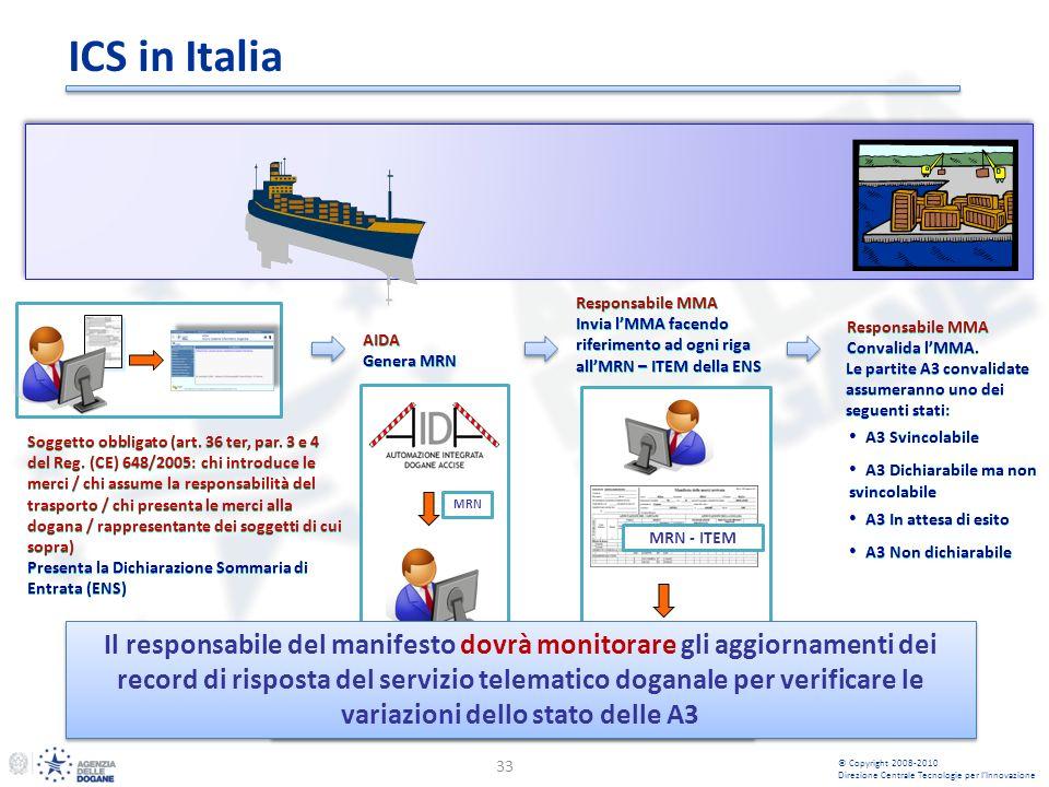 ICS in Italia 33 Soggetto obbligato (art. 36 ter, par. 3 e 4 del Reg. (CE) 648/2005: chi introduce le merci / chi assume la responsabilità del traspor