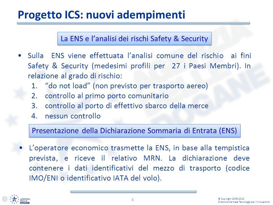 Progetto ICS: nuovi adempimenti 4 Sulla ENS viene effettuata lanalisi comune del rischio ai fini Safety & Security (medesimi profili per 27 i Paesi Membri).