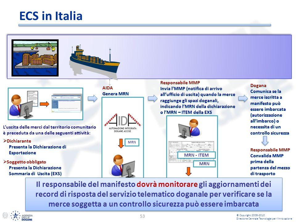 MRN - ITEM MRN ECS in Italia 53 Dichiarante Presenta la Dichiarazione di Esportazione Dichiarante Presenta la Dichiarazione di Esportazione Responsabile MMP Invia lMMP (notifica di arrivo allufficio di uscita) quando la merce raggiunge gli spazi doganali, indicando lMRN della dichiarazione o lMRN – ITEM della EXS Responsabile MMP Invia lMMP (notifica di arrivo allufficio di uscita) quando la merce raggiunge gli spazi doganali, indicando lMRN della dichiarazione o lMRN – ITEM della EXS AIDA Genera MRN AIDA Genera MRN MRN Dogana Comunica se la merce iscritta a manifesto può essere imbarcata (autorizzazione allimbarco) o necessita di un controllo sicurezza Dogana Comunica se la merce iscritta a manifesto può essere imbarcata (autorizzazione allimbarco) o necessita di un controllo sicurezza © Copyright 2008-2010 Direzione Centrale Tecnologie per lInnovazione Soggetto obbligato Presenta la Dichiarazione Sommaria di Uscita (EXS) Soggetto obbligato Presenta la Dichiarazione Sommaria di Uscita (EXS) Luscita delle merci dal territorio comunitario è preceduta da una delle seguenti attività: Il responsabile del manifesto dovrà monitorare gli aggiornamenti dei record di risposta del servizio telematico doganale per verificare se la merce soggetta a un controllo sicurezza può essere imbarcata Responsabile MMP Convalida MMP prima della partenza del mezzo di trasporto Responsabile MMP Convalida MMP prima della partenza del mezzo di trasporto