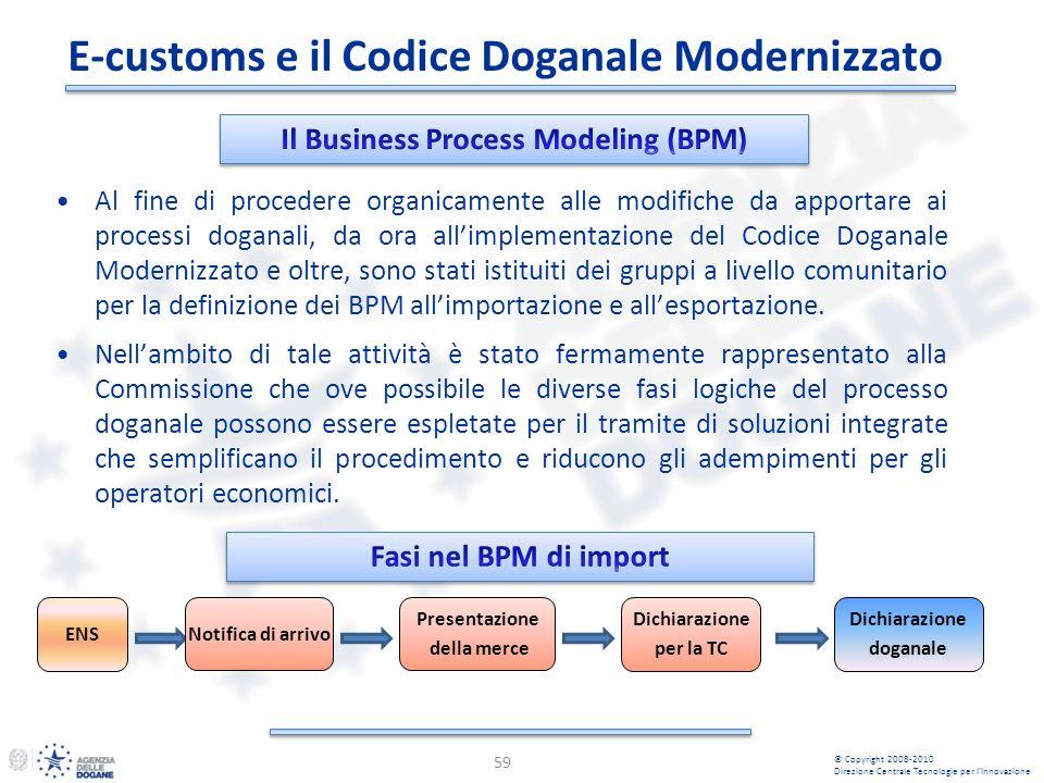 E-customs e il Codice Doganale Modernizzato 59 Al fine di procedere organicamente alle modifiche da apportare ai processi doganali, da ora allimplemen