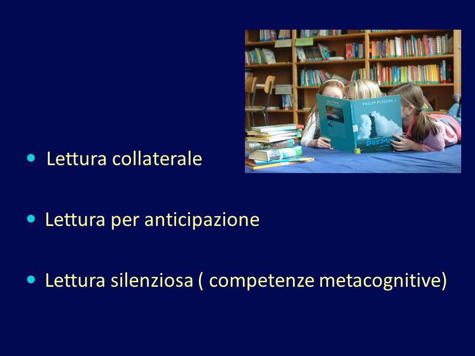 Lettura collaterale Lettura per anticipazione Lettura silenziosa ( competenze metacognitive)