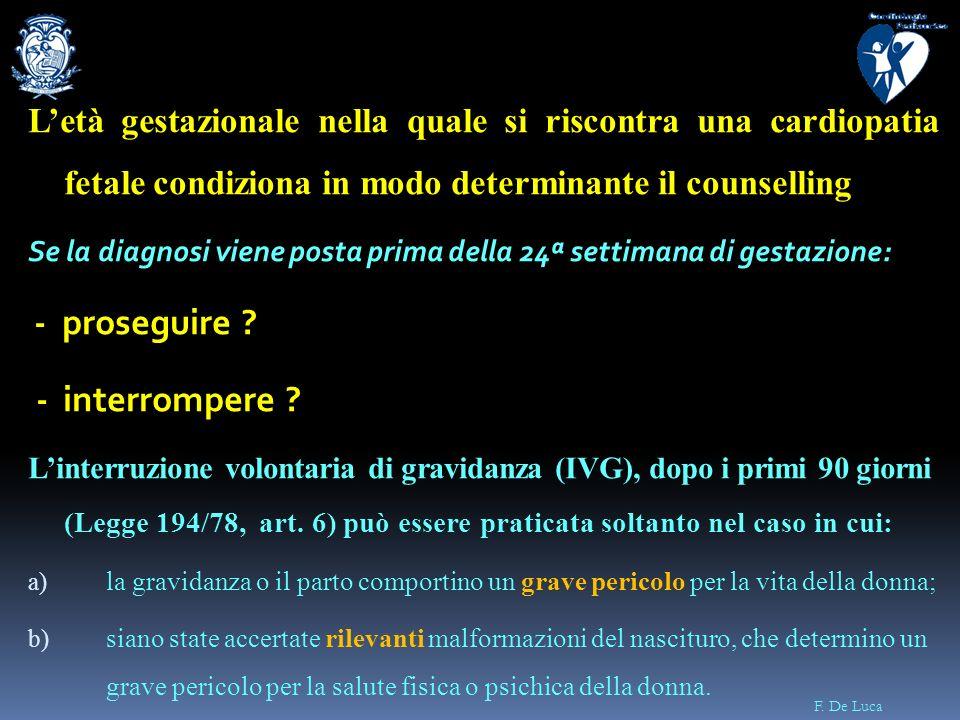 F. De Luca Letà gestazionale nella quale si riscontra una cardiopatia fetale condiziona in modo determinante il counselling Se la diagnosi viene posta