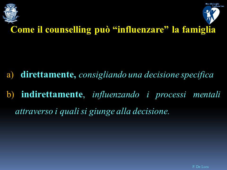 F. De Luca Come il counselling Come il counselling può influenzare la famiglia a) direttamente, consigliando una decisione specifica b) indirettamente