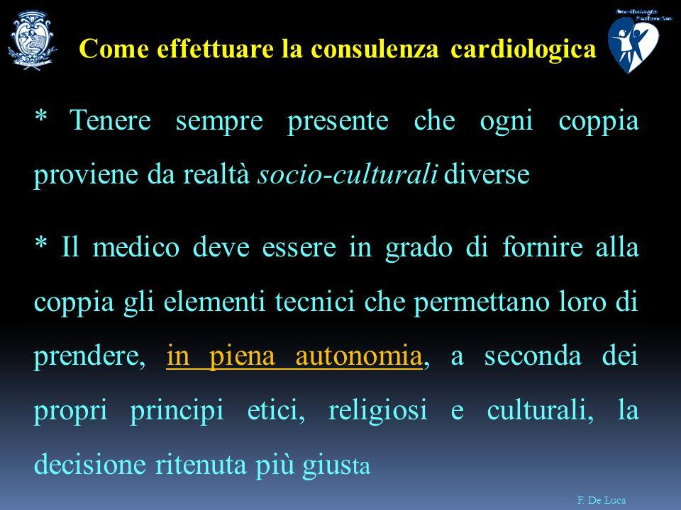 F. De Luca * Tenere sempre presente che ogni coppia proviene da realtà socio-culturali diverse * Il medico deve essere in grado di fornire alla coppia
