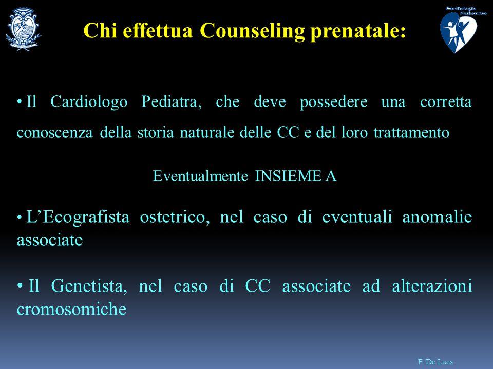 F. De Luca Il Cardiologo Pediatra, che deve possedere una corretta conoscenza della storia naturale delle CC e del loro trattamento Eventualmente INSI