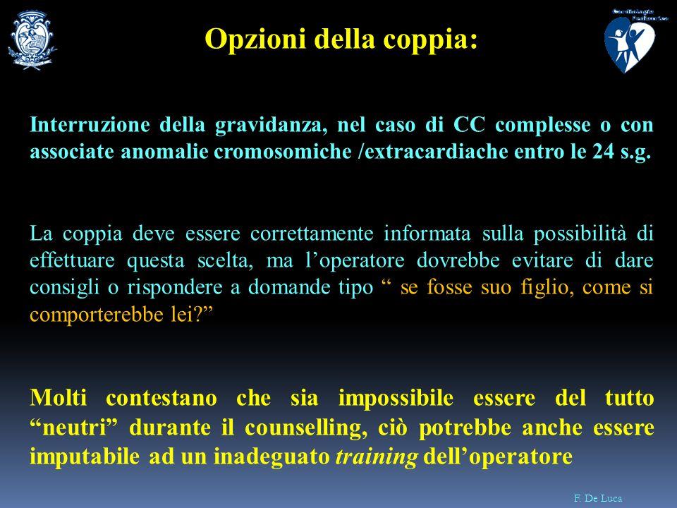 F. De Luca Opzioni della coppia: Interruzione della gravidanza, nel caso di CC complesse o con associate anomalie cromosomiche /extracardiache entro l