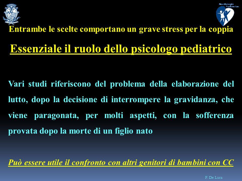 F. De Luca Entrambe le scelte comportano un grave stress per la coppia Essenziale il ruolo dello psicologo pediatrico Vari studi riferiscono del probl