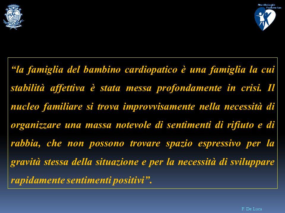 F. De Luca la famiglia del bambino cardiopatico è una famiglia la cui stabilità affettiva è stata messa profondamente in crisi. Il nucleo familiare si