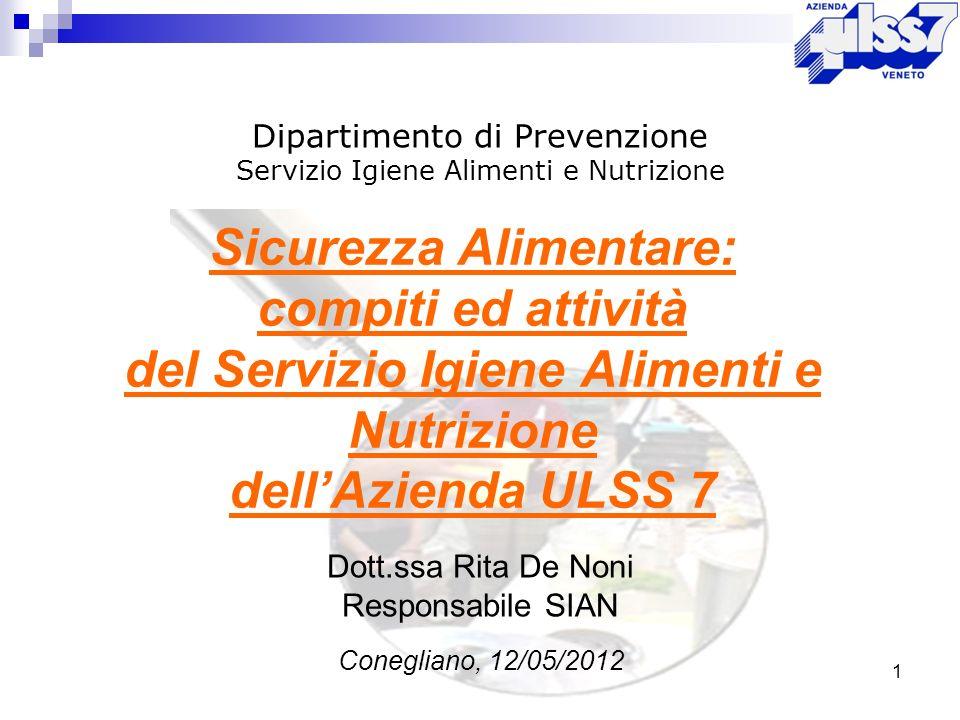 1 Sicurezza Alimentare: compiti ed attività del Servizio Igiene Alimenti e Nutrizione dellAzienda ULSS 7 Dipartimento di Prevenzione Servizio Igiene A