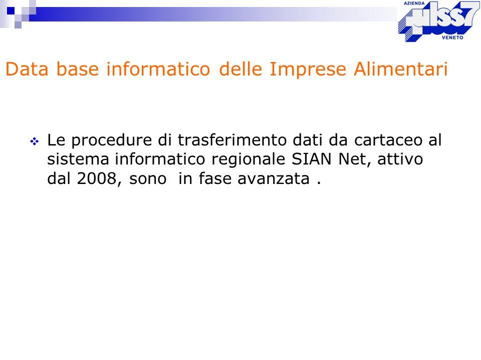 Le procedure di trasferimento dati da cartaceo al sistema informatico regionale SIAN Net, attivo dal 2008, sono in fase avanzata. Data base informatic