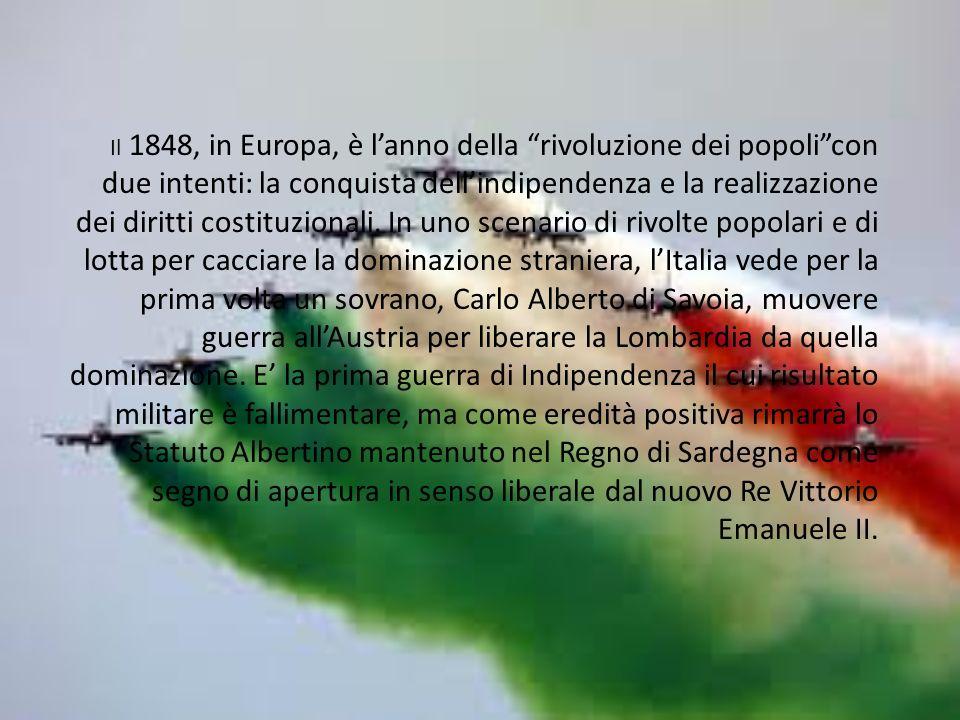Il 1848, in Europa, è lanno della rivoluzione dei popolicon due intenti: la conquista dellindipendenza e la realizzazione dei diritti costituzionali.