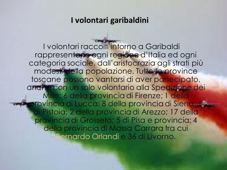 I volontari garibaldini I volontari raccolti intorno a Garibaldi rappresentano ogni regione dItalia ed ogni categoria sociale, dallaristocrazia agli strati più modesti della popolazione.