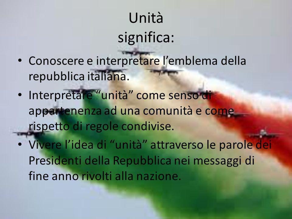 Unità significa: Conoscere e interpretare lemblema della repubblica italiana.