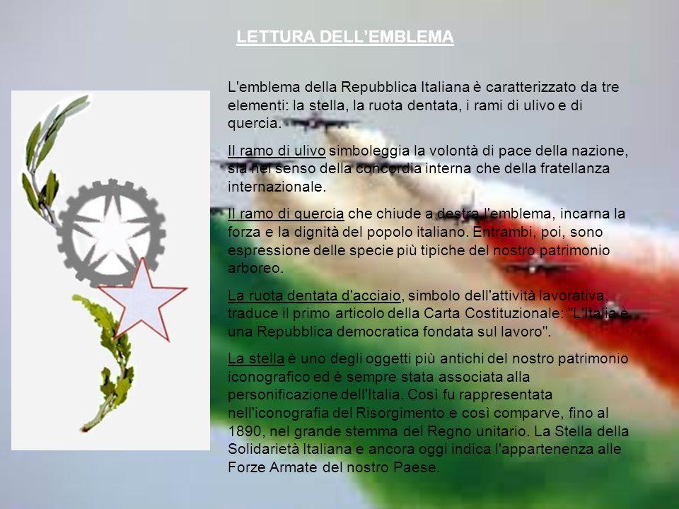 L emblema della Repubblica Italiana è caratterizzato da tre elementi: la stella, la ruota dentata, i rami di ulivo e di quercia.