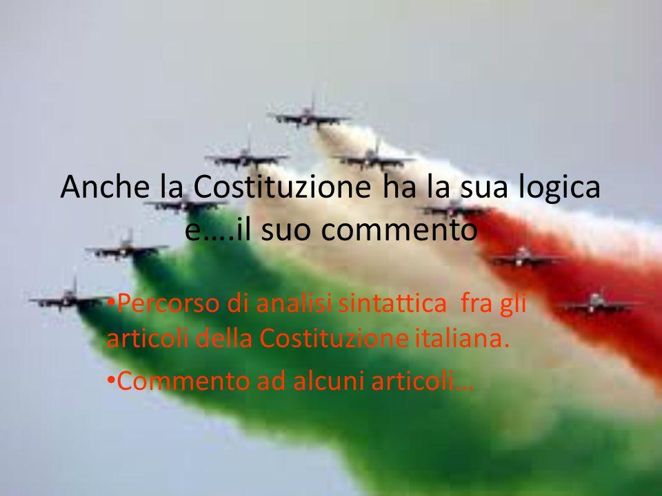 Anche la Costituzione ha la sua logica e….il suo commento Percorso di analisi sintattica fra gli articoli della Costituzione italiana.