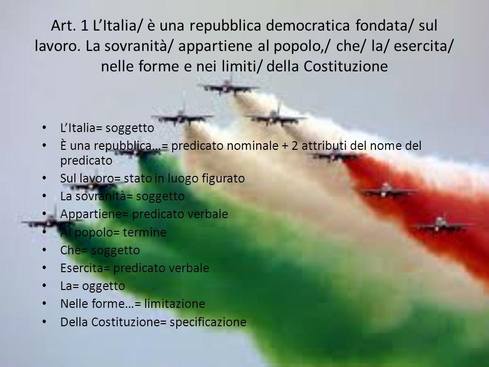 Art.1 LItalia/ è una repubblica democratica fondata/ sul lavoro.