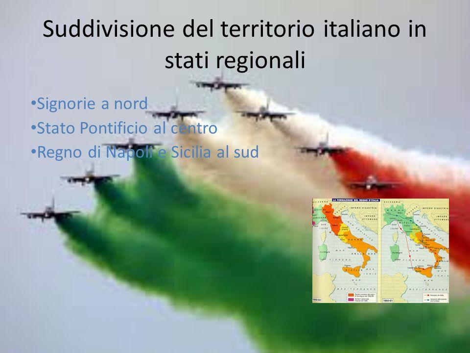 Suddivisione del territorio italiano in stati regionali Signorie a nord Stato Pontificio al centro Regno di Napoli e Sicilia al sud