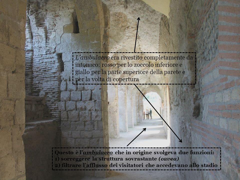 Questo è lambulacro che in origine svolgeva due funzioni: 1) sorreggere la struttura sovrastante (cavea) 2) filtrare lafflusso dei visitatori che acce
