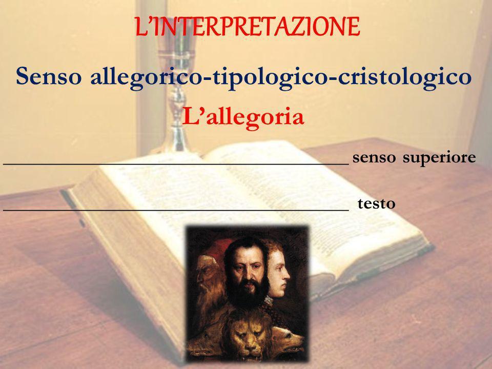 LINTERPRETAZIONE Senso allegorico-tipologico-cristologico Lallegoria ____________________________________ senso superiore ____________________________