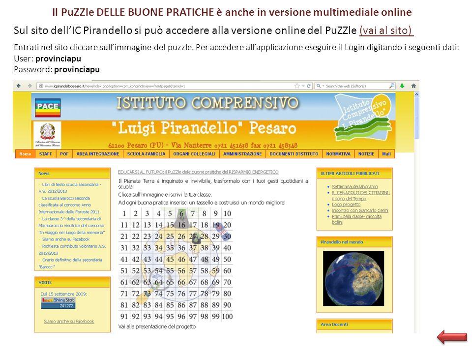 Il PuZZle DELLE BUONE PRATICHE è anche in versione multimediale online Sul sito dellIC Pirandello si può accedere alla versione online del PuZZle (vai