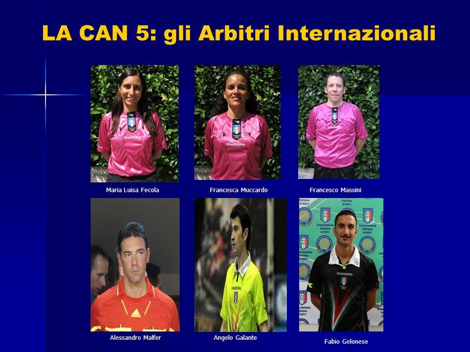 LA CAN 5: gli Arbitri Internazionali Maria Luisa Fecola Fabio Gelonese Francesco MassiniFrancesca Muccardo Angelo GalanteAlessandro Malfer