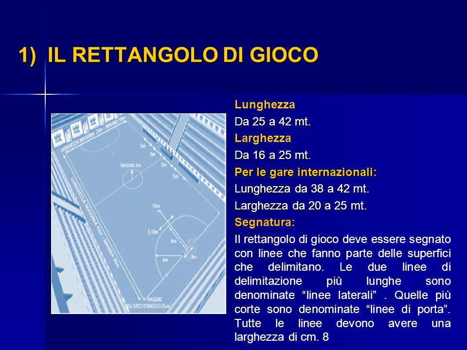 1) IL RETTANGOLO DI GIOCO 1) IL RETTANGOLO DI GIOCO Lunghezza Da 25 a 42 mt. Larghezza Da 16 a 25 mt. Per le gare internazionali: Lunghezza da 38 a 42